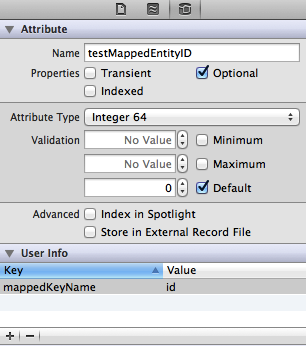 Mapped Key Name in Xcode Model Editor