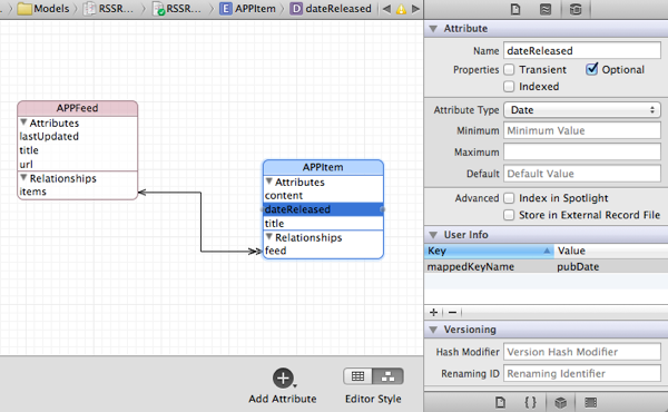 A Sample Core Data Model for RSS Feed Content