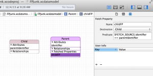 A Fetched Property shown in Xcode's data modeler
